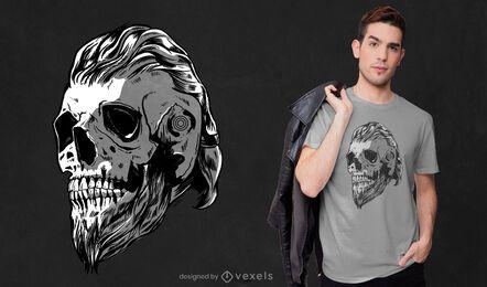 Diseño de camiseta de cráneo vikingo.