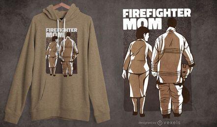 Projeto da camiseta da mãe do bombeiro