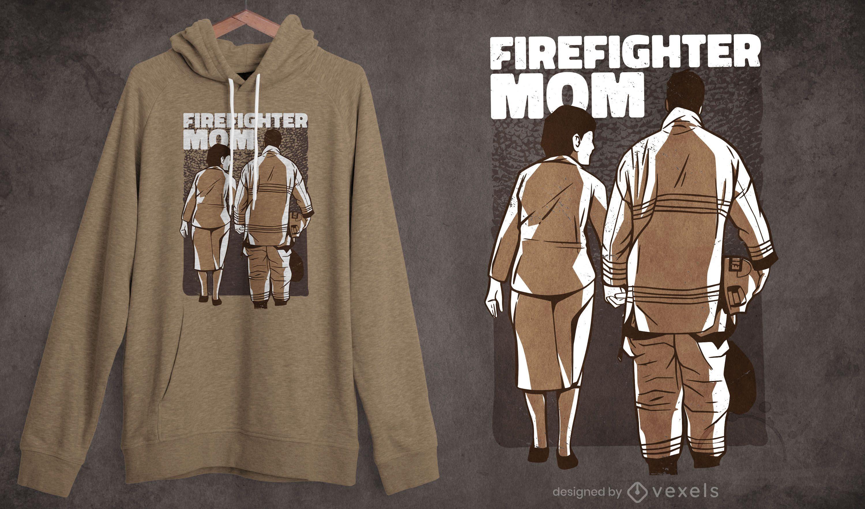 Diseño de camiseta madre bombero.
