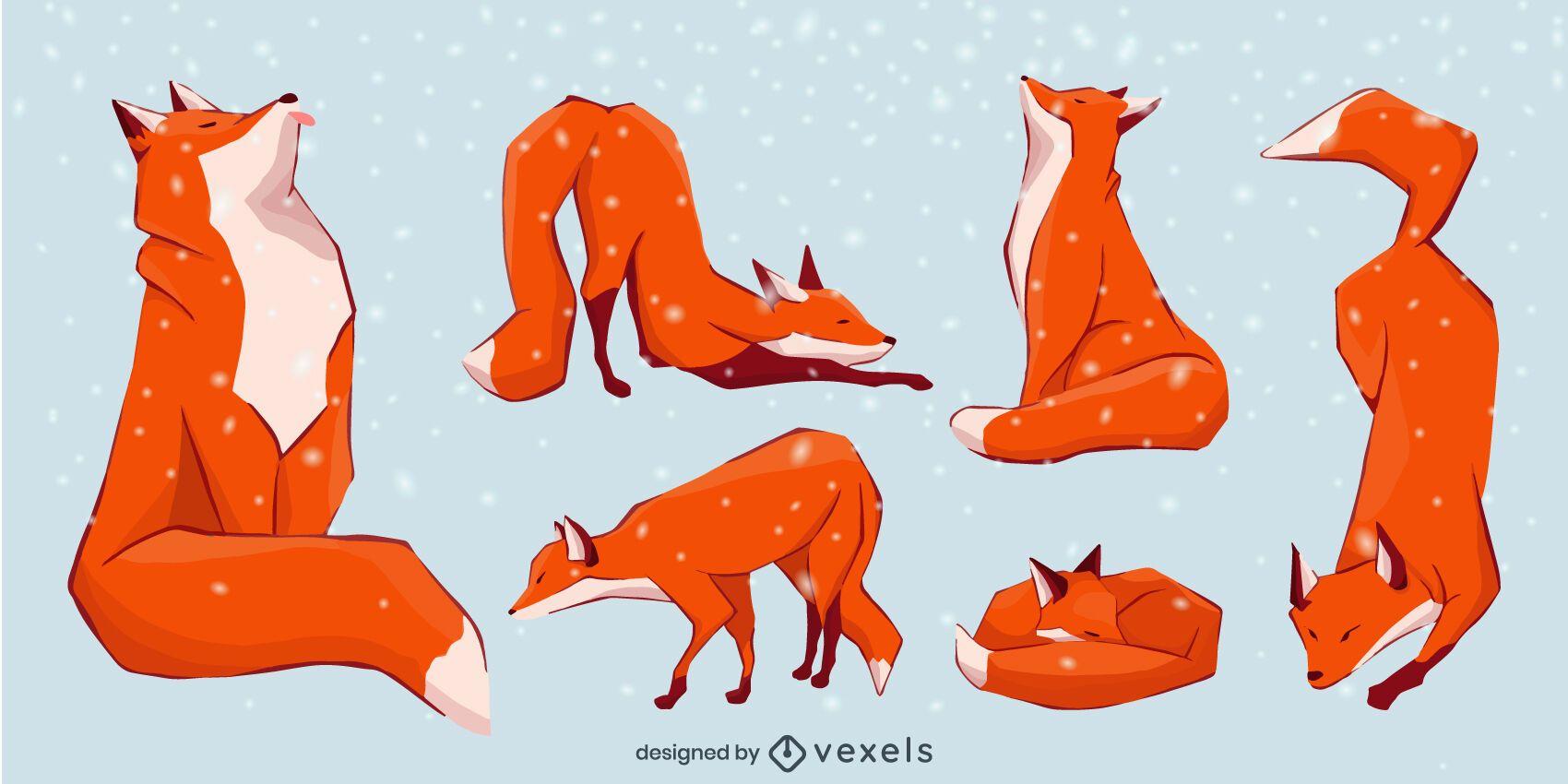 Conjunto de ilustración plana de zorro
