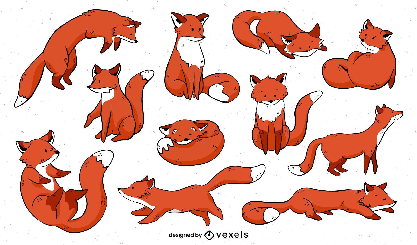 Diseño de conjunto de dibujos animados lindo zorro