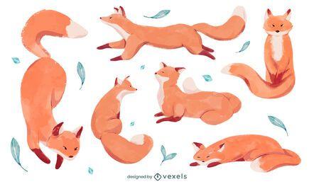 Diseño de escenografía de zorro acuarela