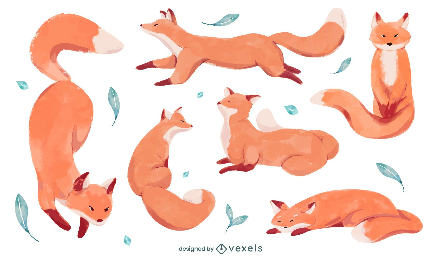 Watercolor fox set design