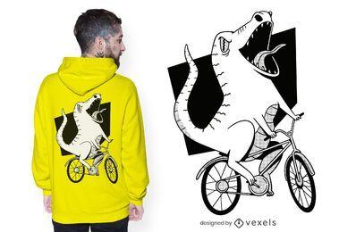 Diseño de camiseta de dinosaurio motorista