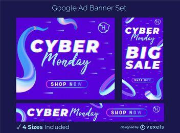 Conjunto de banner publicitario de venta Cyber Monday