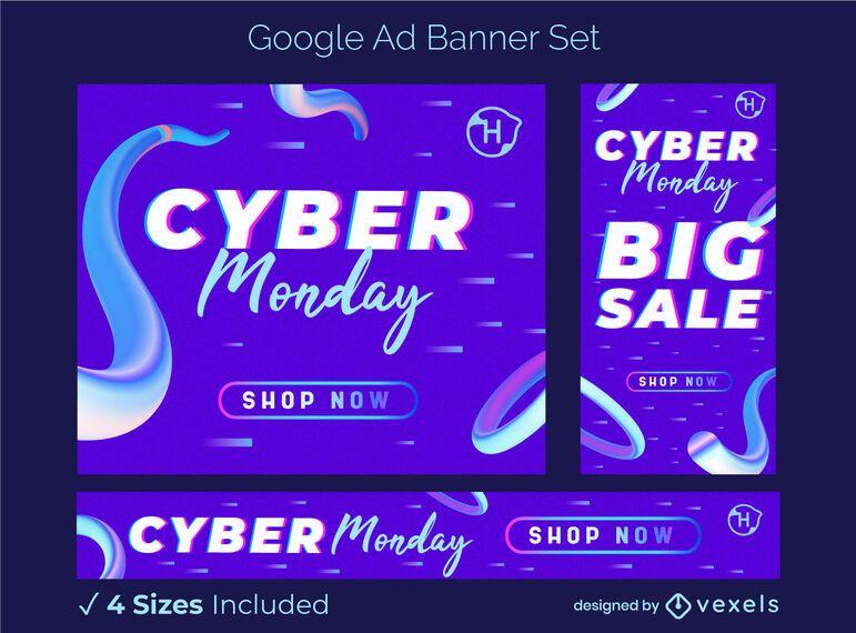 Cyber monday sale ad banner set