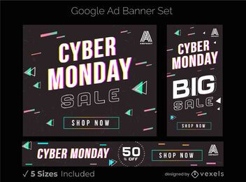Conjunto de banners de anúncios do Google Cyber Monday