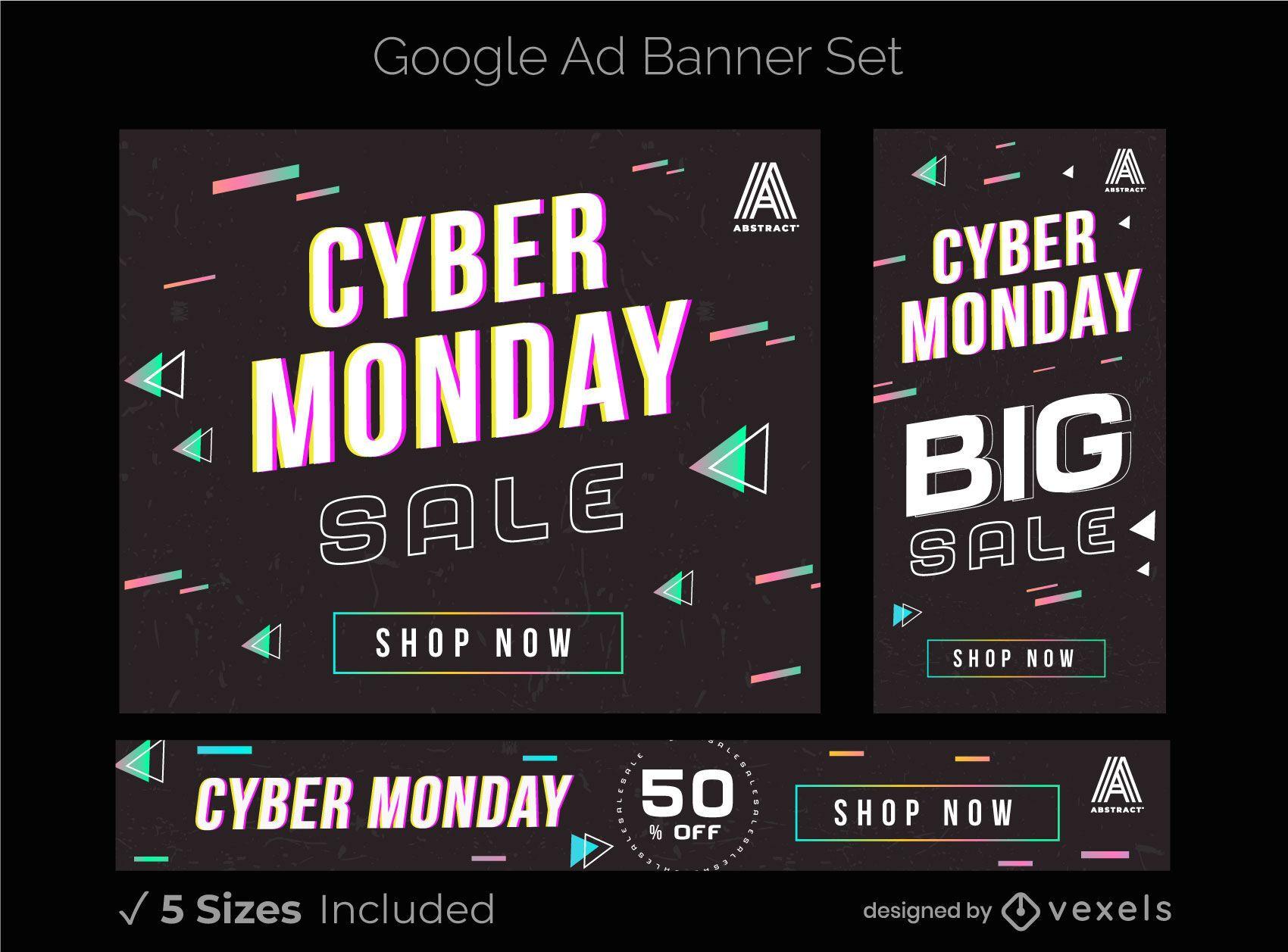 Conjunto de banner de anuncios de google de cyber monday