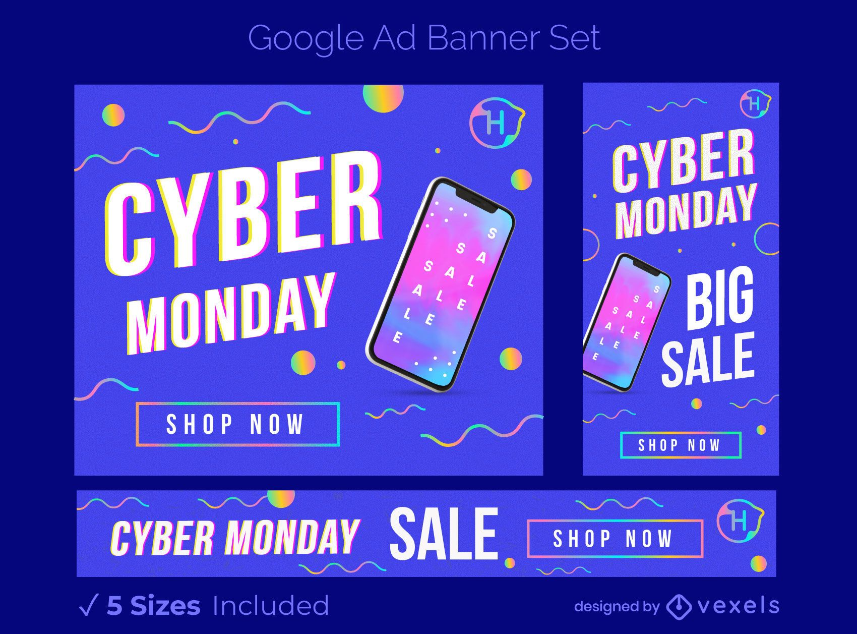 Conjunto de banners de anuncios de venta de cyber monday