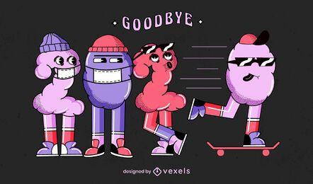 Auf Wiedersehen 2020 Illustrationsdesign