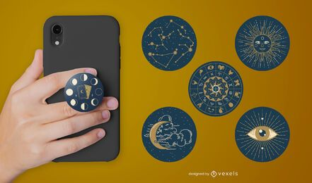 Conjunto de popsocket de astrologia
