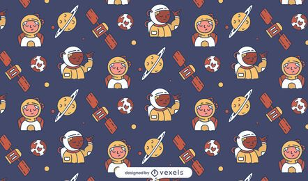 Astronauts planets pattern design