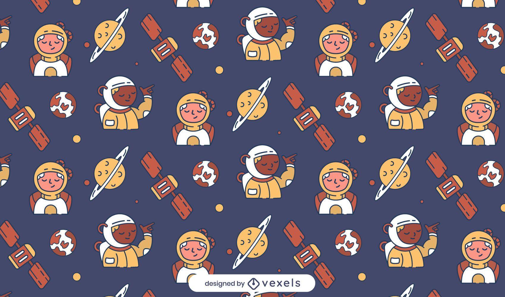 Diseño de patrón de planetas astronautas