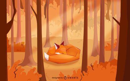 Desenho de ilustração de raposa de outono