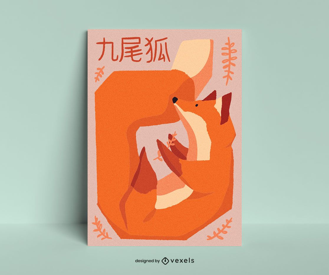 Diseño de cartel de zorro geométrico