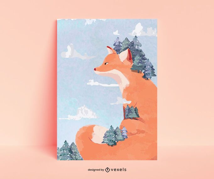 Diseño de cartel de bosque de zorros