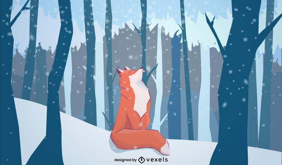 Desenho de ilustração de raposa de inverno