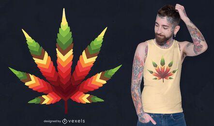 Diseño de camiseta de hoja de cannabis.