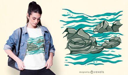 Design de t-shirt do oceano rochoso