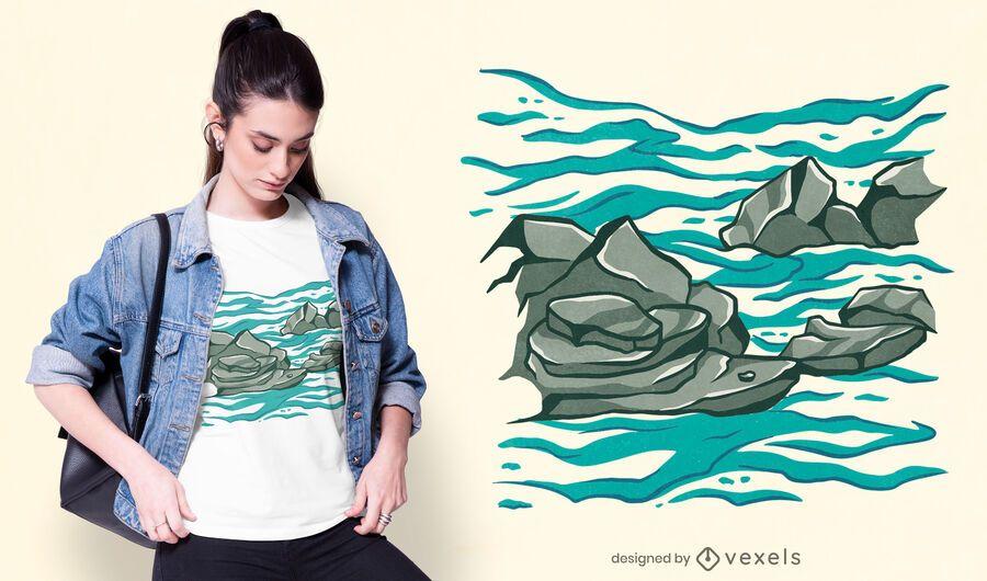 Rocky ocean t-shirt design