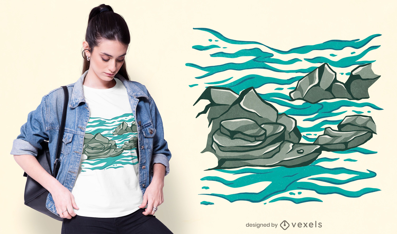 Diseño de camiseta de Rocky Ocean
