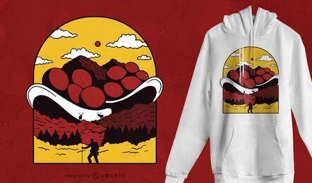Design de camiseta da montanha Bollenhut