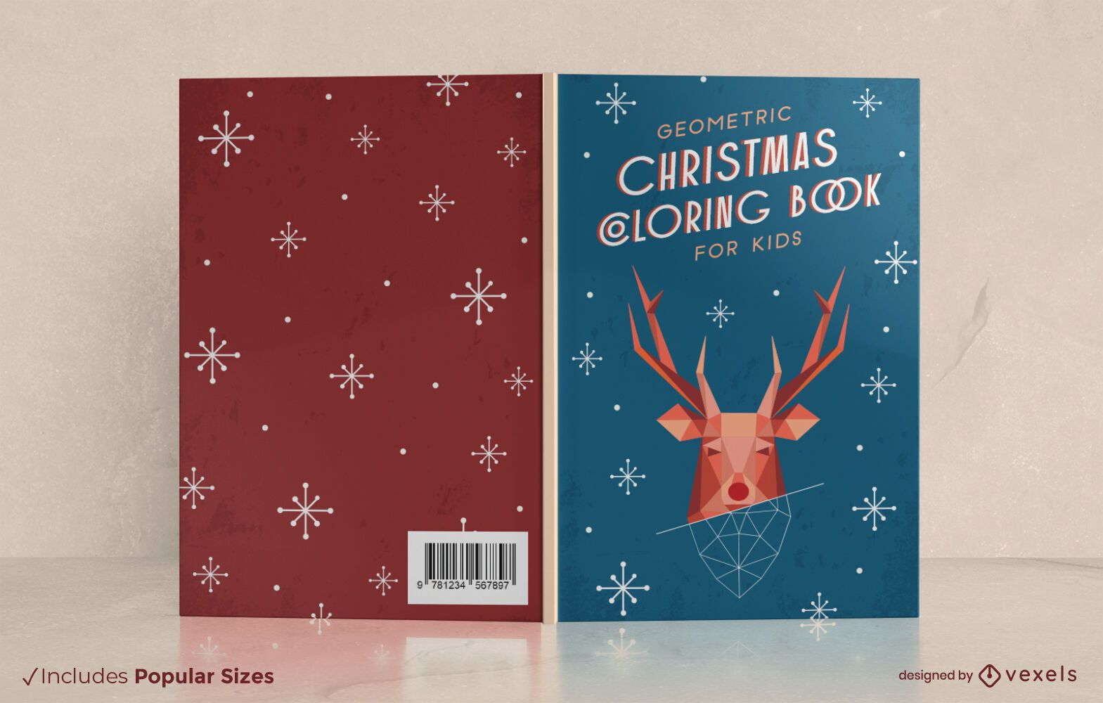 Geometric christmas coloring book cover design