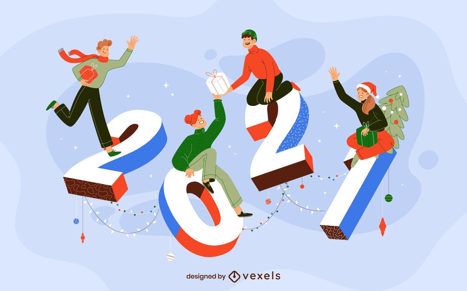2021 celebration characters illustration design