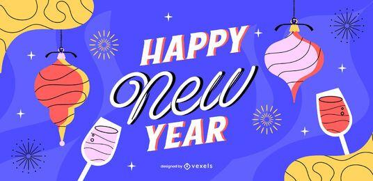Feliz año nuevo diseño de control deslizante
