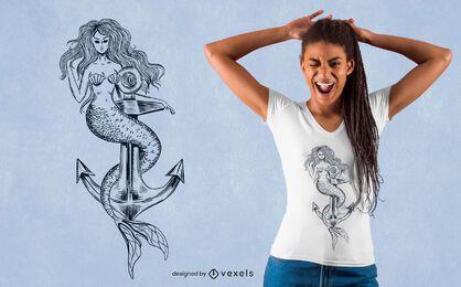 Desenho de t-shirt de sereia desenhada à mão