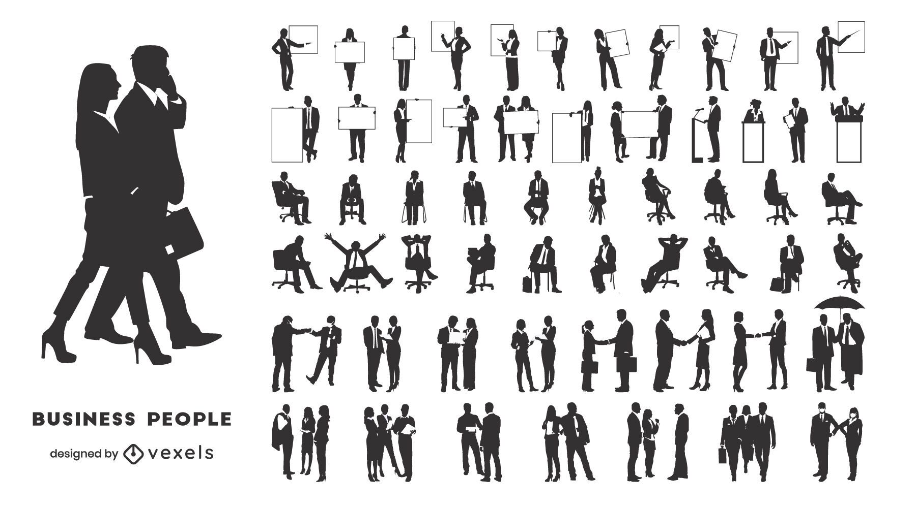 Coleção de silhuetas de executivos