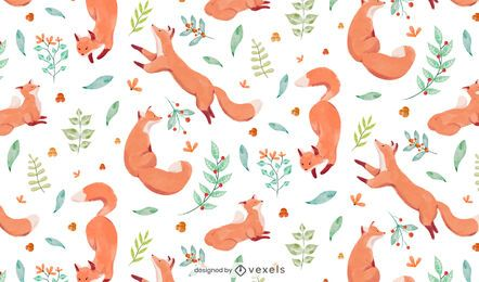 Watercolor fox pattern design