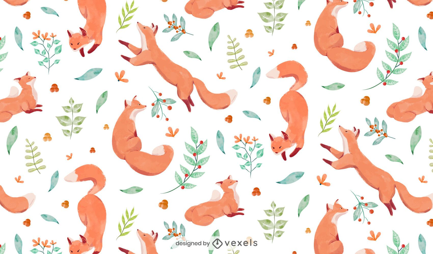 Watercolor fox pattern design