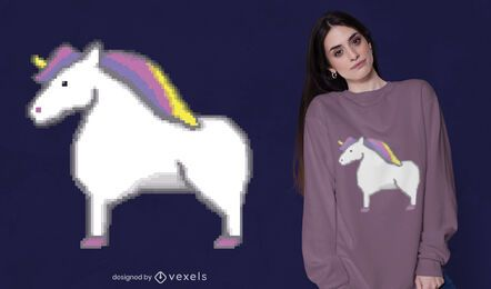 Diseño de camiseta pixel unicorn