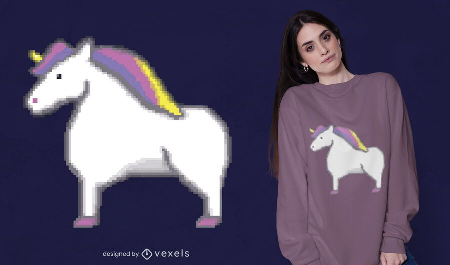 Pixel unicorn t-shirt design