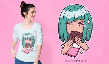 Diseño de camiseta de chica anime chocolate