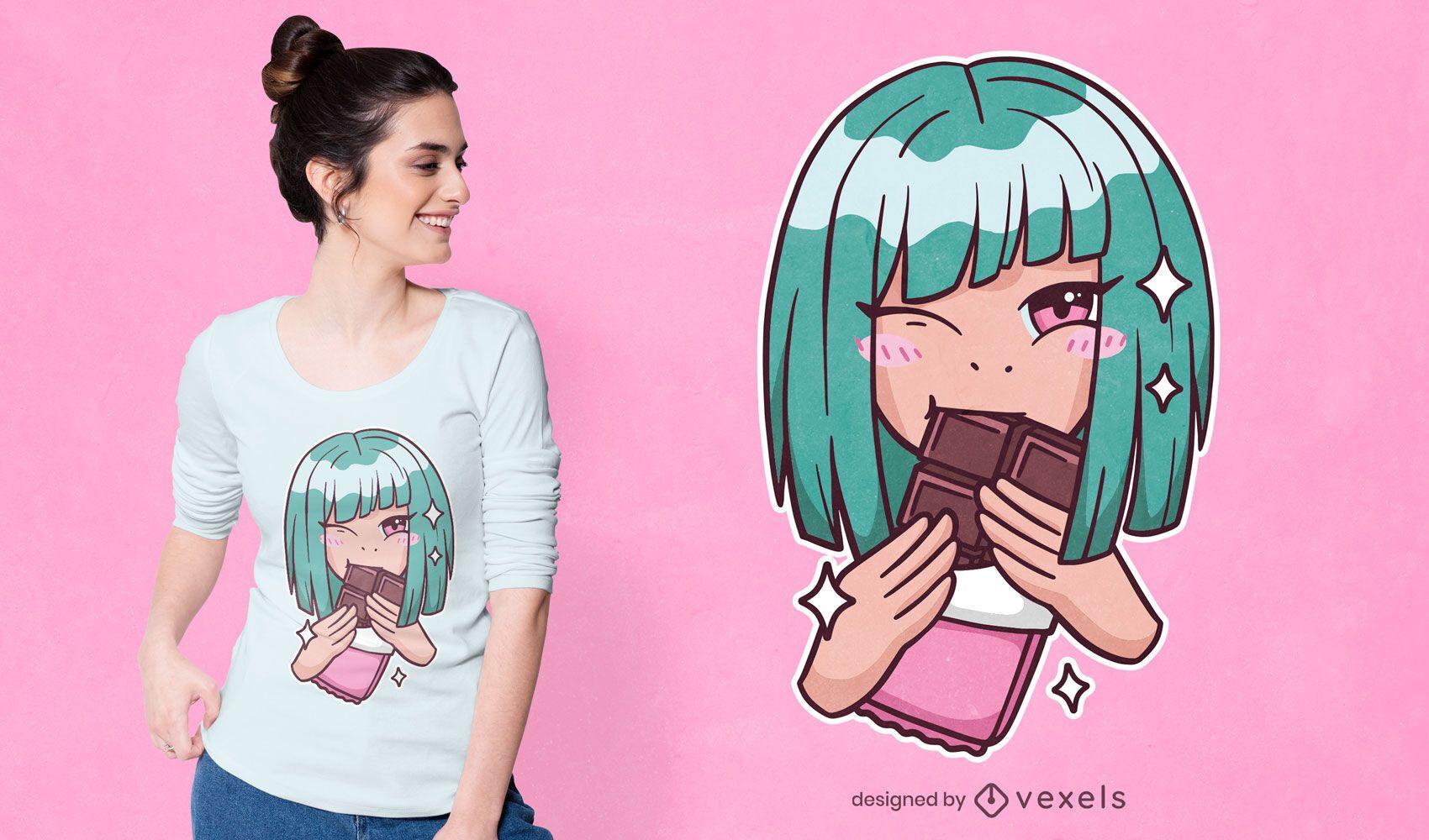 Design de camiseta de chocolate anime girl