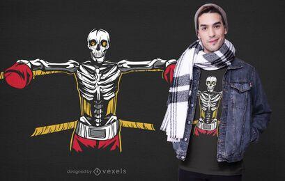 Diseño de camiseta de esqueleto de boxeo