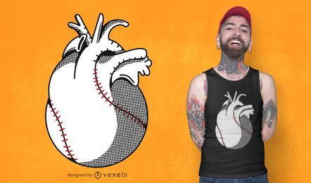 Baseball heart t-shirt design