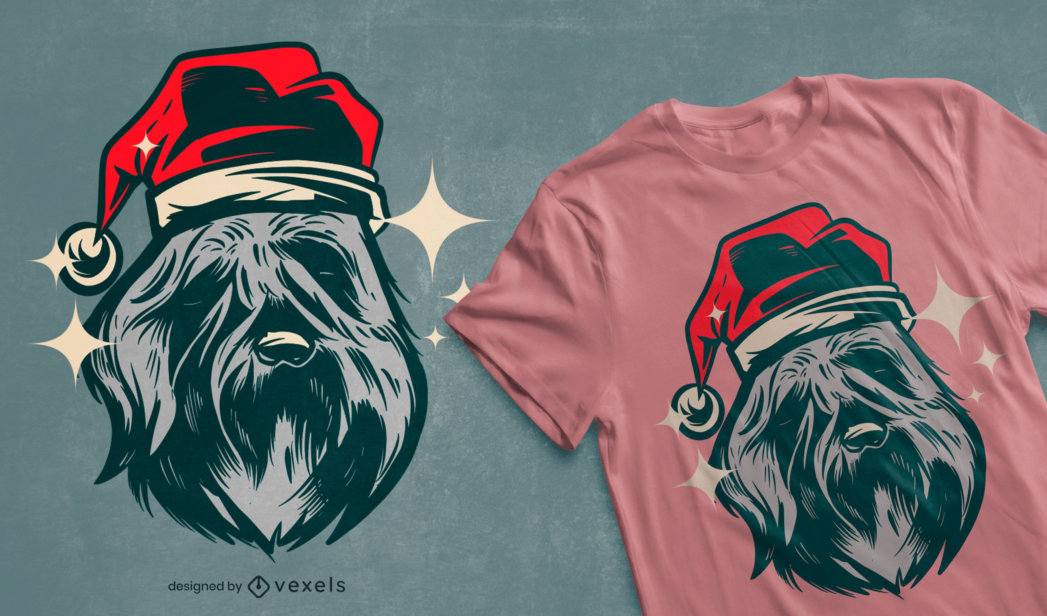 Bouvier des flandres christmas t-shirt design