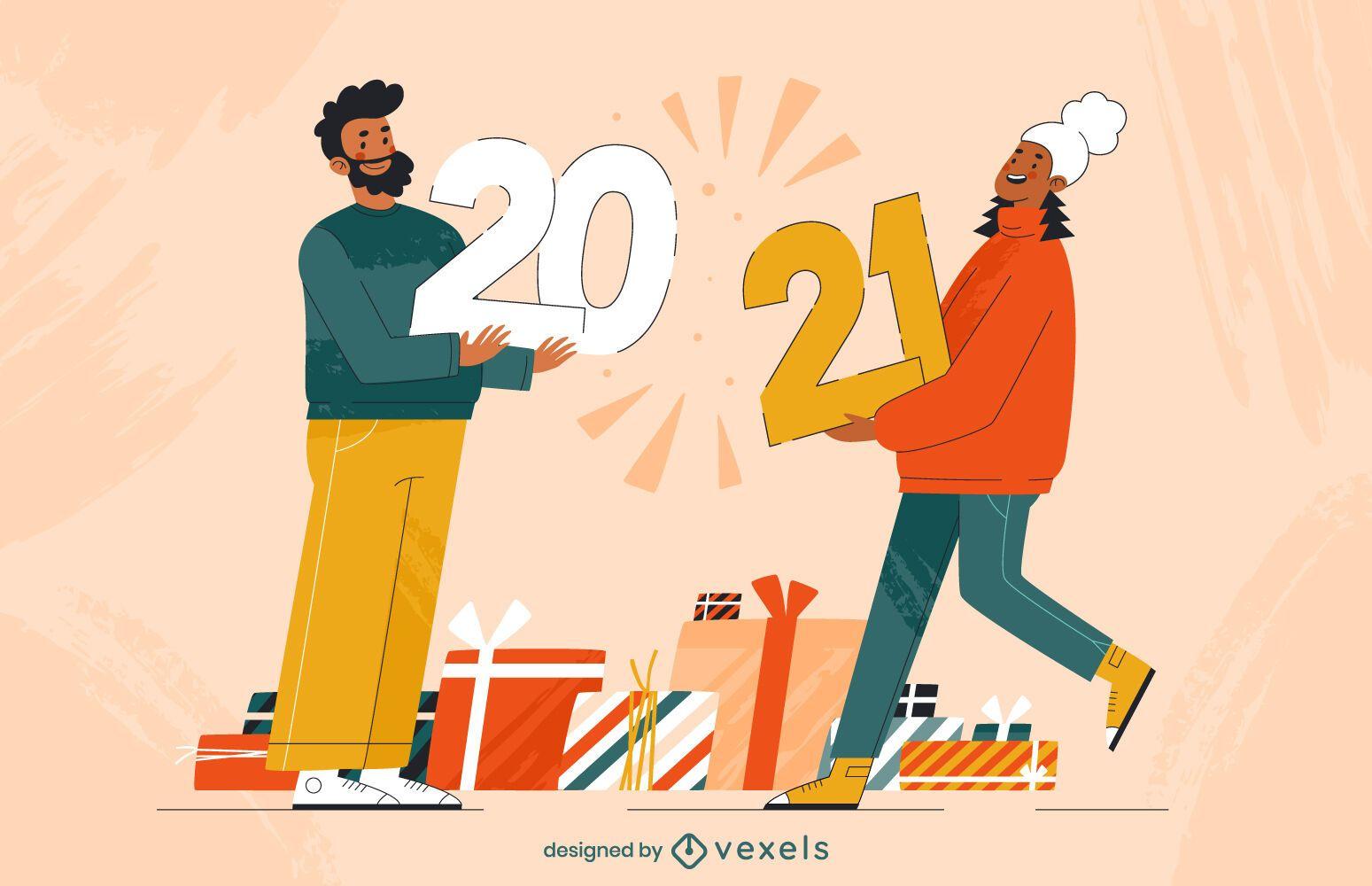 2021 diseño de ilustración de personajes