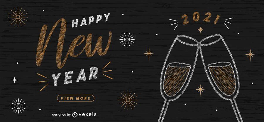 Feliz ano novo design do web slider
