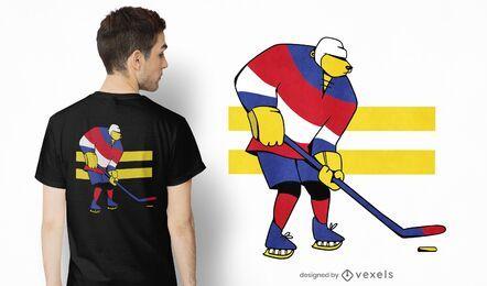 Design de camiseta com urso de hóquei no gelo
