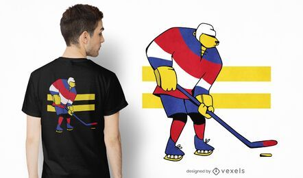 Ice hockey bear t-shirt design