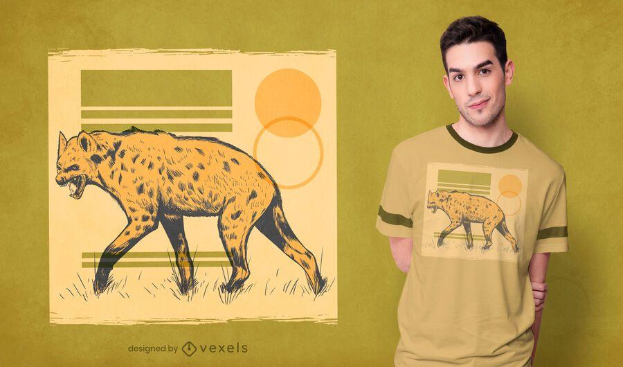 Design de camiseta animal hiena