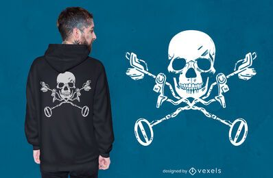 Design de camiseta com crânio detector de metais