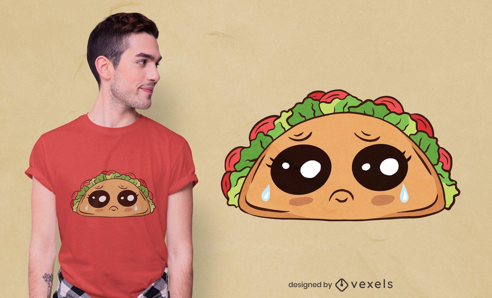 Diseño de camiseta de taco llorando