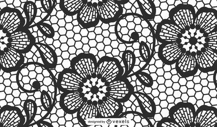Diseño de patrón de encaje negro