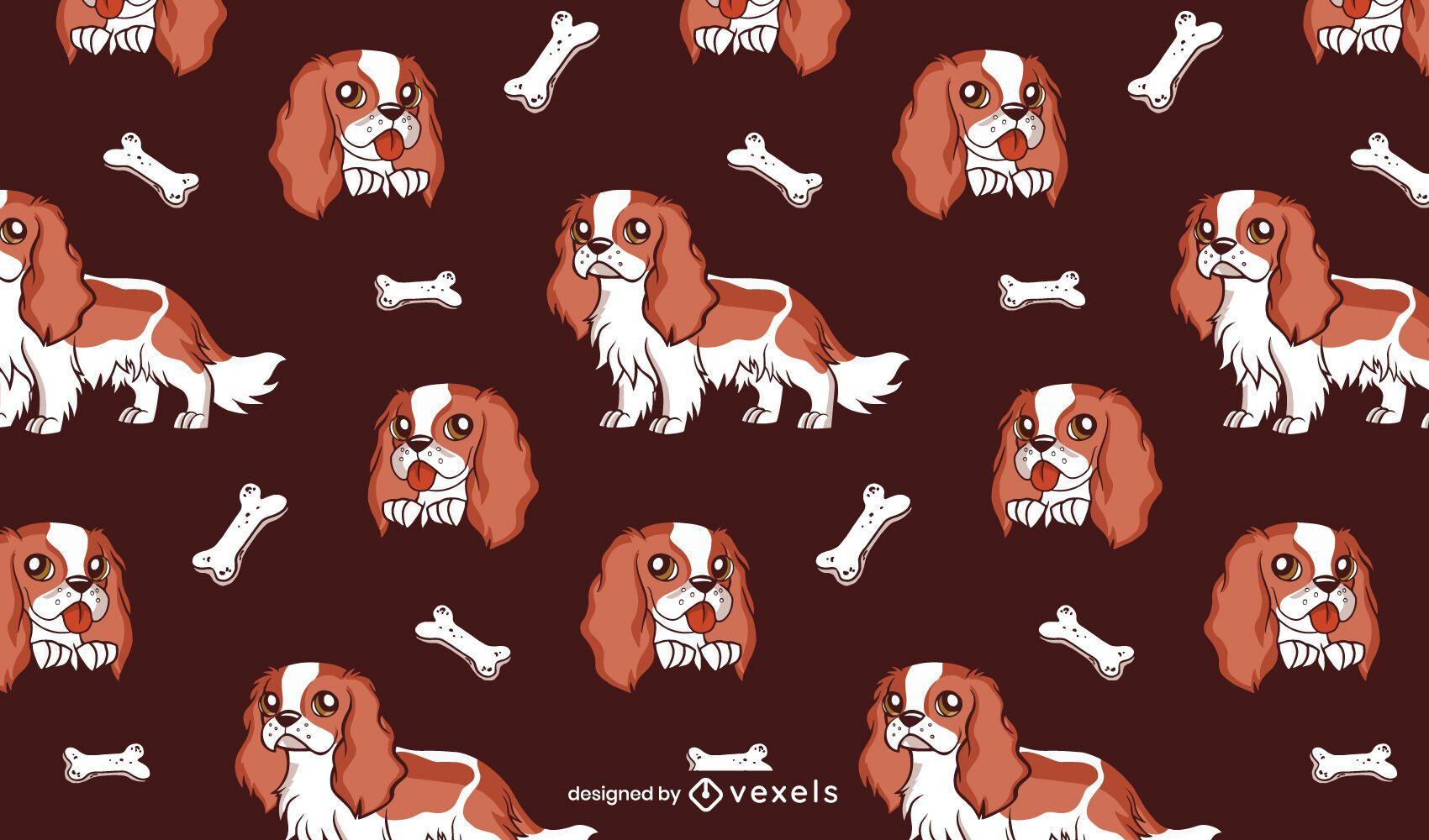 Diseño de patrón de perro cavalier