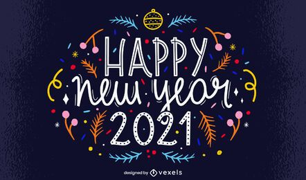 Feliz ano novo design de letras 2021
